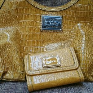 Nicole Miller Faux Crocodile Satchel + Wallet